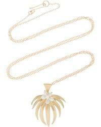 Annette Ferdinandsen Curled Fan Palm 14k Gold And Pearl Pendant Necklace - Metallic