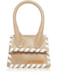 Jacquemus Le Chiquito Whipstitch Leather Top Handle Bag - Natural