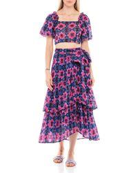 brand: Banjanan Frances Printed Cotton Voile Skirt - Multicolour