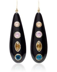 Ashley Pittman - Upendo Whiskey Quartz, Pink Amethyst, Blue Spinel, And Orange Zircon Earrings - Lyst