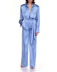 David Koma Long Sleeve Satin Jumpsuit - Blue
