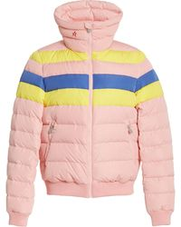 Perfect Moment Queenie Striped Shell Down Puffer Jacket - Pink