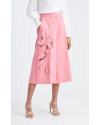 Oscar de la Renta Mid-rise Floral Cutout Wool-blend Culotte - Pink