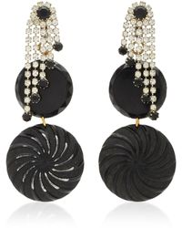 Lulu Frost Gold-tone, Resin And Crystal Clip Earrings - Black