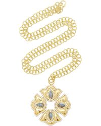 Amrapali Kaliyana Lotus 18k Yellow Gold, Labradorite, And Diamond Pendant Necklace - Blue