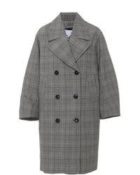 Ganni Plaid Long Lined Jacket - Gray