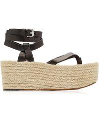 Isabel Marant Mazia Leather Platform Espadrille Sandals - Black