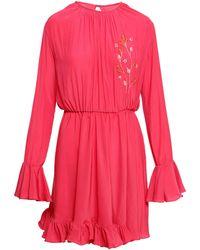 ANOUKI - Raspberry Chiffon Mini Dress - Lyst