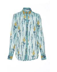 Luisa Beccaria Organdy Fil Coupe Printed Shirt - Blue