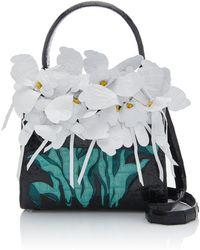 Nancy Gonzalez - Lily Orchid-embellished Mini Crocodile Bag - Lyst