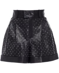 Nour Hammour Cameron Studded Leather Shorts - Black