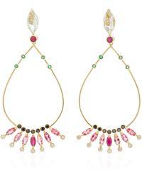 Carolina Neves 18k Gold Multi-stone Drop Earrings - Metallic