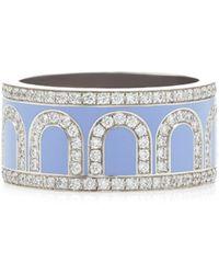 Davidor L'arc 18k White Gold And Diamond Ring - Blue
