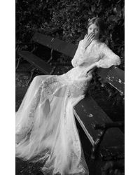 Costarellos Bridal - Floral Embroidered Tulle Long Peplum Godet Dress - Lyst