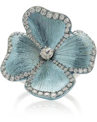Gioia - Floral 18k Gold And Blue Titanium Ring - Lyst