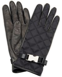 Prada Embellished Quilted Shell And Leather Gloves - Black