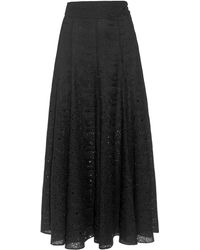 Three Graces London Amelina Broderie Anglaise Maxi Skirt - Black