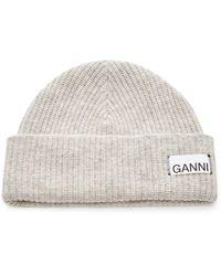 Ganni Wool-blend Beanie - Grey