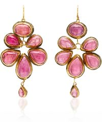 "Judy Geib One-of-a-kind Lovely Brazilian Pink Tourmaline Cabachon ""malta"" Earrings"