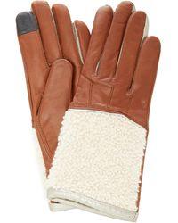 Maison Fabre Shearling Cuff Lambskin Gloves - Brown