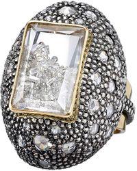 Moritz Glik 18k Gold, Blackened Silver, Diamond And Sapphire Ring