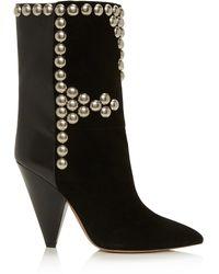 Isabel Marant Layo Studded Leather-paneled Velvet Ankle Boots - Black