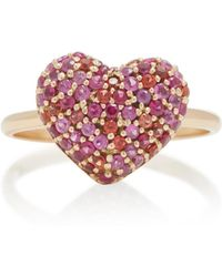 She Bee - 14k Gold And Sapphire Heart Ring - Lyst