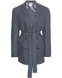 Agnona Belted Wool-blend Blazer - Grey