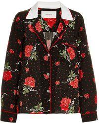 Rodarte Rose-printed Silk Pajama Top - Black