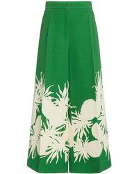 Oscar de la Renta Pineapple-print Wool-silk Culotte Pants - Green