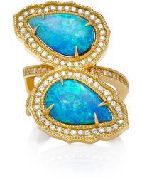 Sara Weinstock - 18k Gold, Opal And Diamond Ring - Lyst
