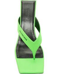 Balenciaga Double Square Logo Leather Sandals - Green