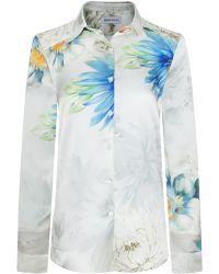Adriana Iglesias Julie Floral Silk Satin Shirt
