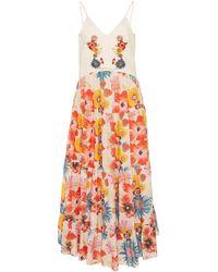 Carolina K Marieta Floral-print Cotton And Silk-blend Maxi Dress - Multicolour