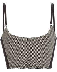 Alexander Wang Houndstooth Wool-blend Corseted Bra Top - Gray