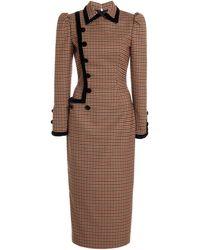 Alessandra Rich Velvet-trimmed Gingham Wool-blend Midi Dress - Multicolour