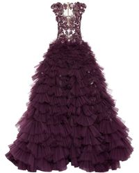 Pamella Roland Tulle Gown With Embroidered Bodice - Purple