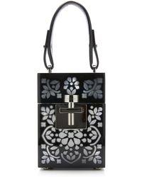 Oscar de la Renta Alibi Mini Plexi Box Top Handle Bag - Black