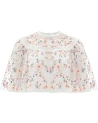 Needle & Thread Sweet Petal Embroidered Tulle Cape - White