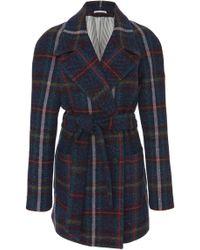 Veronica Beard Phillips Belted Plaid Tweed Coat - Blue