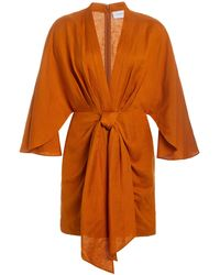 Significant Other Magnolia Linen-blend Wrap Dress - Brown