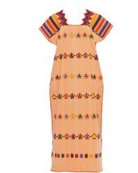 Pippa Holt Multicolour Embroidered Cotton Maxi Dress - Orange
