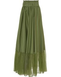 White Story Sage Cotton-organza Maxi Skirt - Green