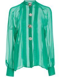 J. Mendel Crystal-emellished Chiffon Top - Green