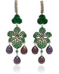 Wendy Yue 18k White Gold Multi-stone Earrings - Green