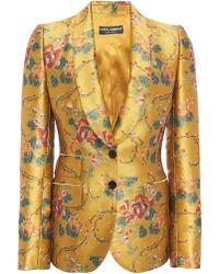 Dolce & Gabbana Floral-print Satin-jacquard Blazer - Yellow