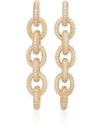 Fallon Gold-tone Brass And Crystal Drop Earrings - Metallic