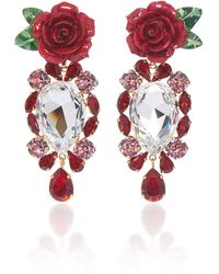 Dolce & Gabbana Rosetto Gold-tone Brass And Crystal Earrings - Red