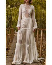Costarellos Bridal - Silk Chiffon Tiered Dress - Lyst