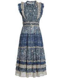 Ulla Johnson Kiri Ruffled Patchwork Cotton-blend Midi Dress - Blue